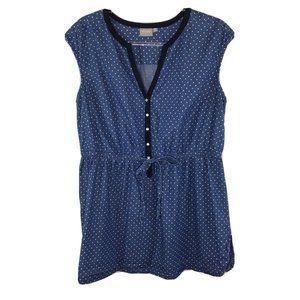 eShakti XL 18 Sleeveless Button Front Tunic Top